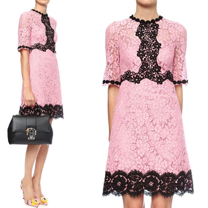 17th SS DG900 FLORAL LACE FLARE DRESS