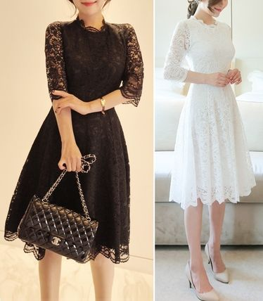 Lovely lace embroidery flare dress dress all