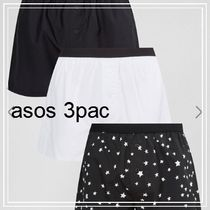 ASOS(エイソス) トランクス ASOS Woven Boxers With Monochrome Star Print 3 Pack SAVE