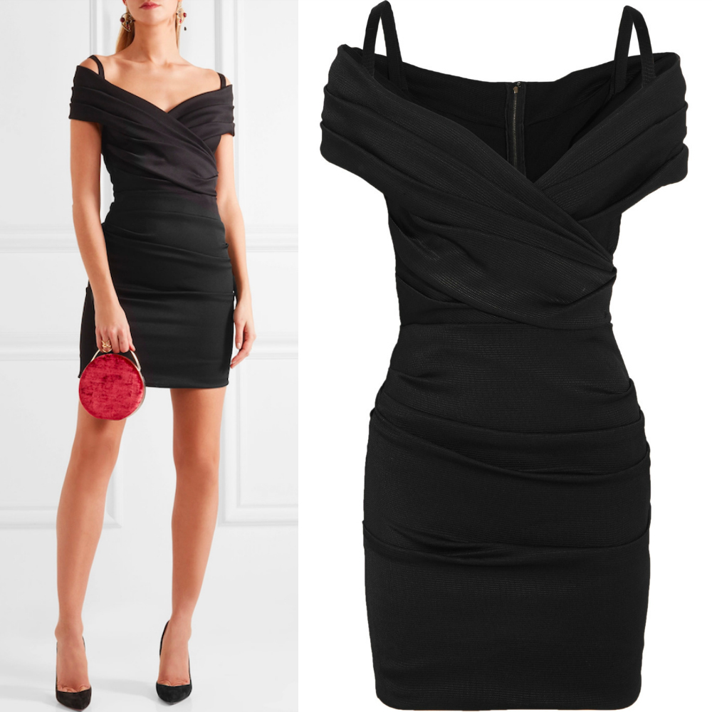 17SS DG906 RUCHED OFF SHOULDER STRETCH JERSEY MINI DRESS