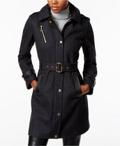 Michael Kors Wool-Blend Faux-Leather-Trim Trench Coat