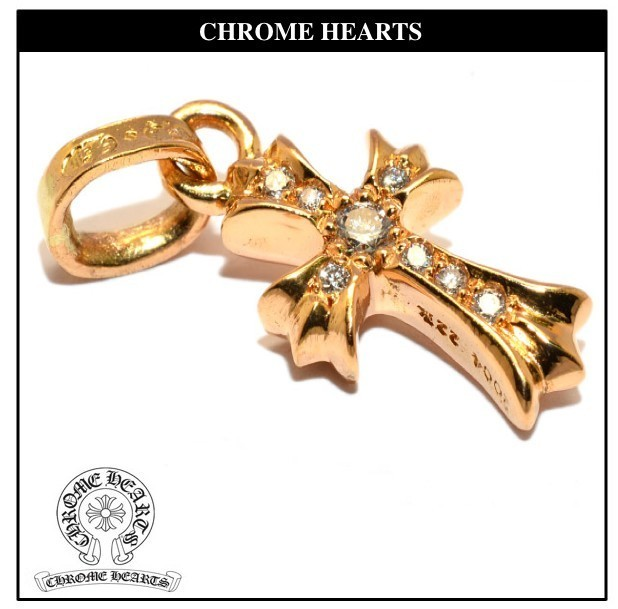 CHROME HEARTS 22K CH CROSS CHARM BABY FAT PAVE DIAMOND