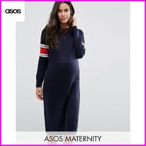 ASOS(エイソス) マタニティウェア ★送込 ASOS Maternity Midi Dress in Knit with Stripe Detail