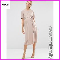 ASOS(エイソス) マタニティウェア ★関送込★ASOS★ Maternity Midi Dress With Tie Front ワンピ
