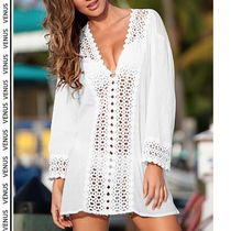 VENUS*OPEN CROCHER TRIMMED TUNIC