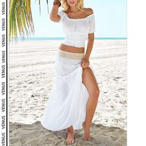 VENUS*OFF SHOULDER TOP & GAUZE CROCHET WAIST SKIRT