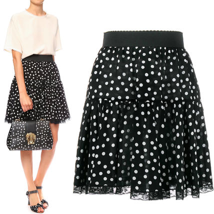 17SS DG927 POLKA DOT PRINTED SILK MINI SKIRT WITH LACE TRIM