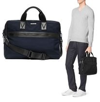 Michael Kors(マイケルコース) ビジネスバッグ・アタッシュケース MICHAEL KORS ☆ Large Leather-Trim Nylon Briefcase Blue