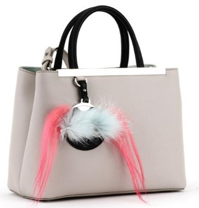 GREY 2JOURS PETITE LEATHER BAG WITH MIRROR HOLDER FUR PATCH