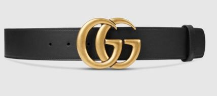 Double G buckle with leather belt black / in