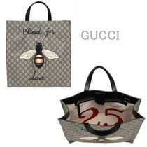 GUCCI(グッチ) トートバッグ GUCCI★セレブ愛用 BEE PRINT GG SUPPLE TOTE BAG