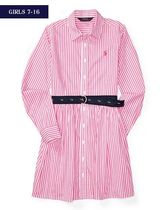 新作♪ 国内発送 3色STRIPED COTTON SHIRTDRESS girls 7~16