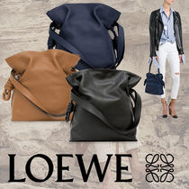 LOEWE FLAMENCO Knot Shoulder Bag Black Tan Marine