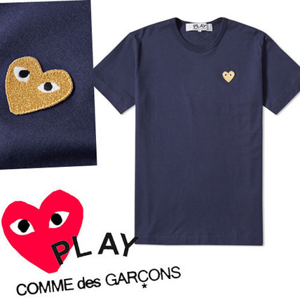 -COMME des GARCONS PLAY-tip Gold heart Tee Navy