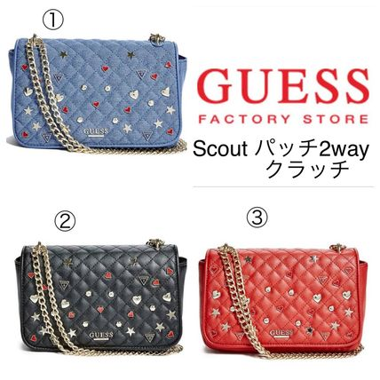 Guess Factory☆新作セール☆Scoutパッチチェーンクラッチ(3色)