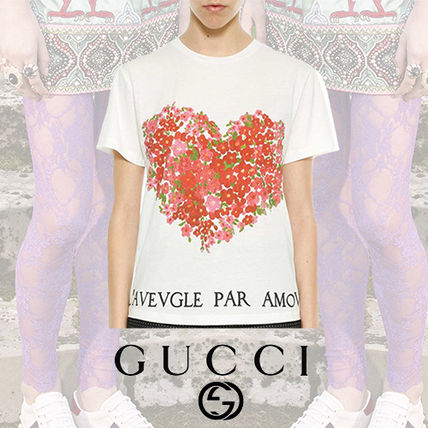 GUCCI Tシャツ・カットソー GUCCI Heart Printed Cotton Jersey T-Shirt