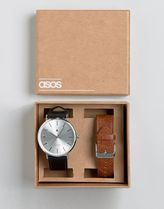 ASOS(エイソス) アナログ時計 ☆国内送関込*エイソス Interchangeable Watch In Tan And Bl 春