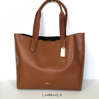 Coach トートバッグ 【COACH】即発☆A4OK!軽量レザーDERBY TOTE F58660☆Saddle☆