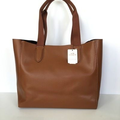 Coach トートバッグ 【COACH】即発☆A4OK!軽量レザーDERBY TOTE F58660☆Saddle☆(2)
