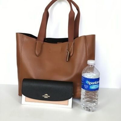 Coach トートバッグ 【COACH】即発☆A4OK!軽量レザーDERBY TOTE F58660☆Saddle☆(6)