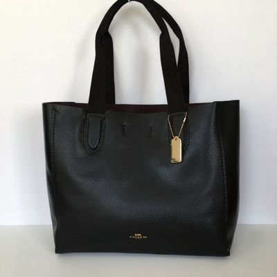Coach トートバッグ 【COACH】即発☆A4OK!軽量レザーDERBY TOTE F58660☆Saddle☆(9)