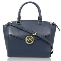MICHAEL KORS HUDSON/LEATHER/LARGE/NAVY