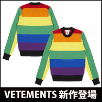"VETEMENTS(ヴェトモン) ニット・セーター ""Vetements x Comme des Garcons"" Coloured Stripes Gay ニット"