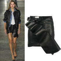 17SS WSL1049 LOOK29 RUFFLED LEATHER MINI SKIRT WITH HARNESS