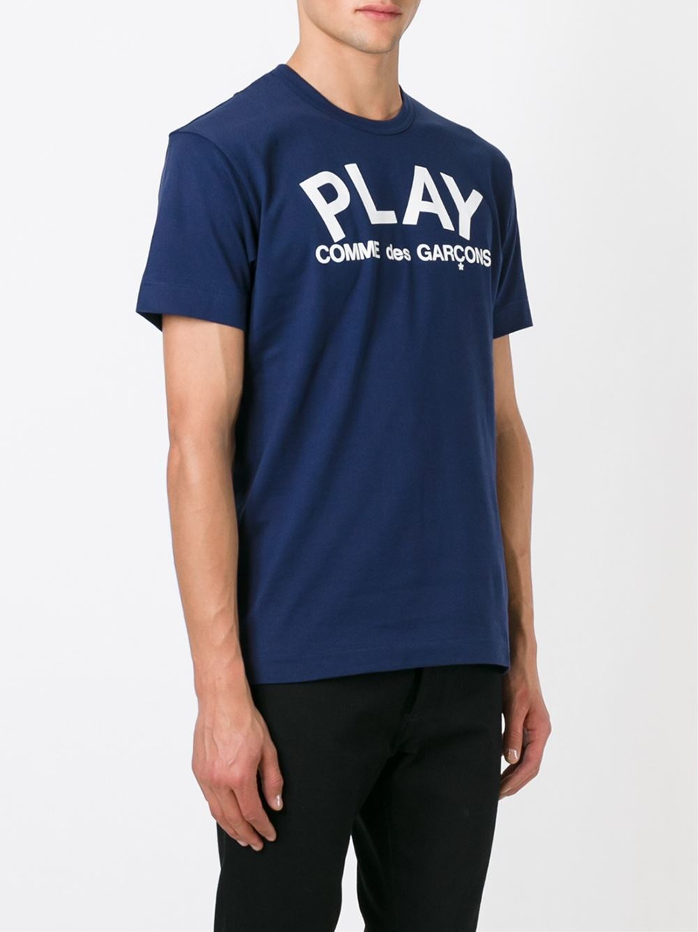 ● COMME des GARCONS PLAY ● Play ロゴ Tシャツ /ネイビーx白