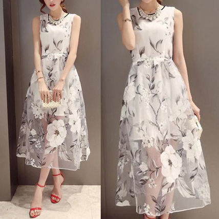 Sleeveless floral embroidered organza dress parties invited