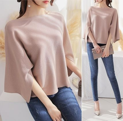 Neck sleeves slit wide sleeves knit all
