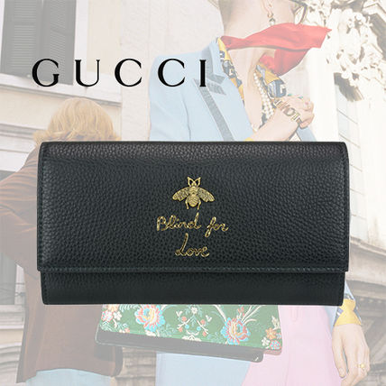 GUCCI Animalier Continental Black Leather Wallet With Bee