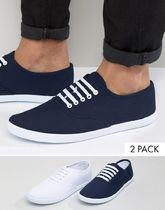 ASOS(エイソス) トップスその他 コスパ◎ ASOS Plimsolls 2 Pack In White and Navy SAVE