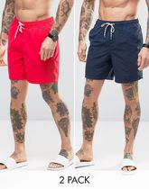 ASOS(エイソス) トップスその他 コスパ◎ ASOS Swim Shorts 2 Pack In Red And Navy In Mid