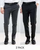 ASOS(エイソス) トップスその他 コスパ◎ ASOS 2 Pack Skinny Trouser In Black and Charcoal