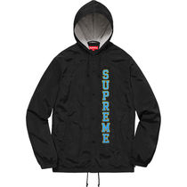17S/S Supreme Vertical Logo Hooded Coaches Jacket Black