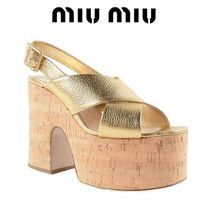 安心の関送込★新作【MiuMiu】SANDALS 125MM MADRAS GOLD