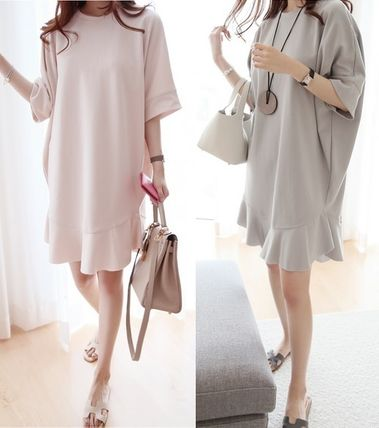 Cute skirt ruffles loose fit cotton dress