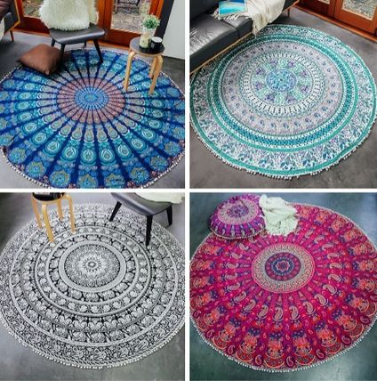 And use colorful throw rugs table cloth sofa cover Beach