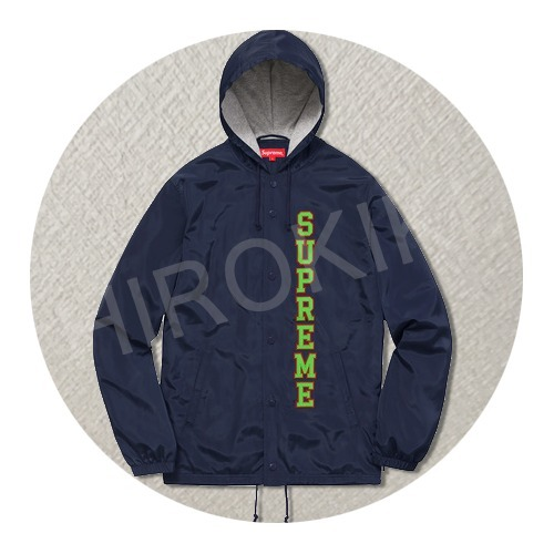【17SS】S-XLサイズ★Supreme Vertical Logo Hooded Coaches 紺