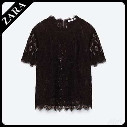 ZARA TRF lace embroidery detail shirt