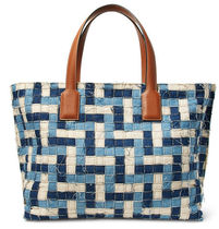 LOEWE(ロエベ)T Leather-Trimmed Woven Denim Tote Bag(送料込)