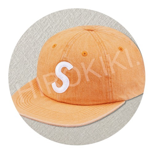 17SS★Supreme Washed Denim S Logo 6 Panel Cap Yellow Orange