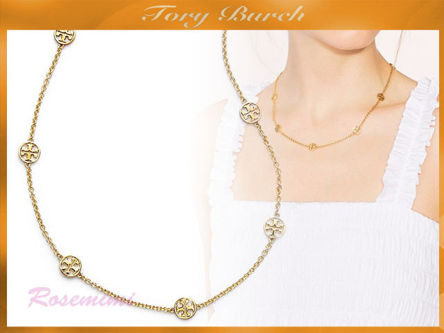 ロゴネックレスがお洒落Tory Burch DELICATE LOGO NECKLACE
