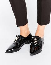 ASOS(エイソス) フラットシューズ 春☆ASOS MEDIA Lace Up Pointed Flat Shoes フラットシューズ