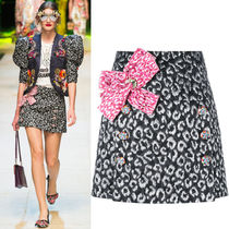 17SS DG934 LOOK56 LEOPARD JACQUARD MINI SKIRT WITH BOW