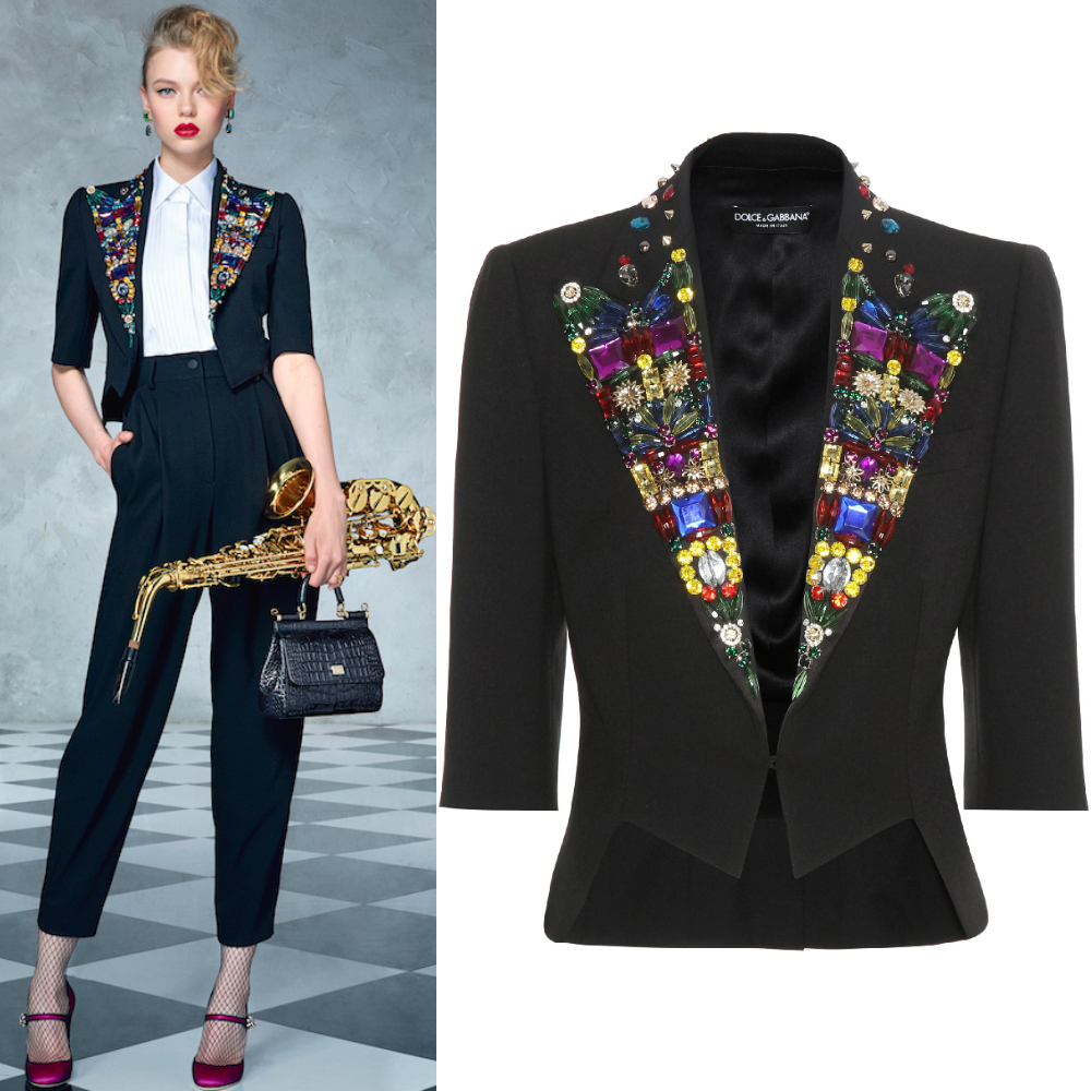 17SS DG941 SPENCER JACKET WITH JEWELRY DECORATION