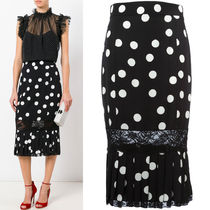 17SS DG944 POLKA DOT SILK MERMAID SKIRT WITH LACE PANEL