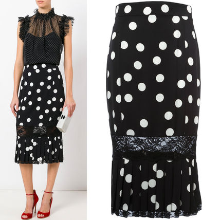17th SS DG944 POLKA DOT SILK MERMAID SKIRT WITH LACE PANEL