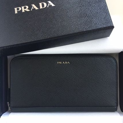 "Men s PRADA""Saffiano CUIR round long wallet black"